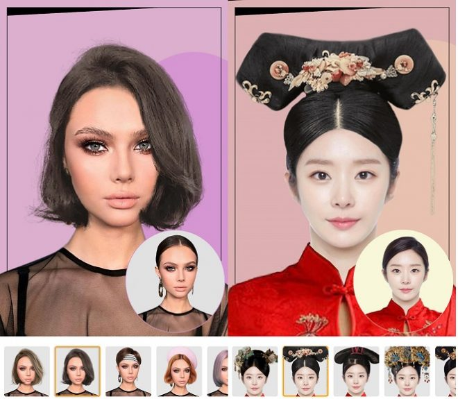 giao diện của ứng dụng Hairstyle Editor